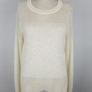 Banana Republic High-Low White Tunic Sweater.